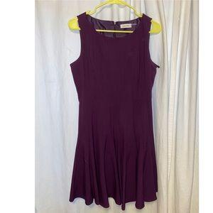 Calvin Klein Pleated A-line Dress Dark Purple